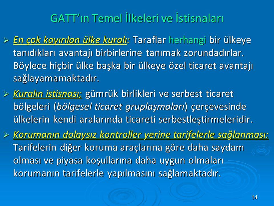 14 GATT'ın Temel İlkeleri ve İstisnaları  En çok kayırılan ülke kuralı: Taraflar herhangi bir ülkeye tanıdıkları avantajı birbirlerine tanımak zorund