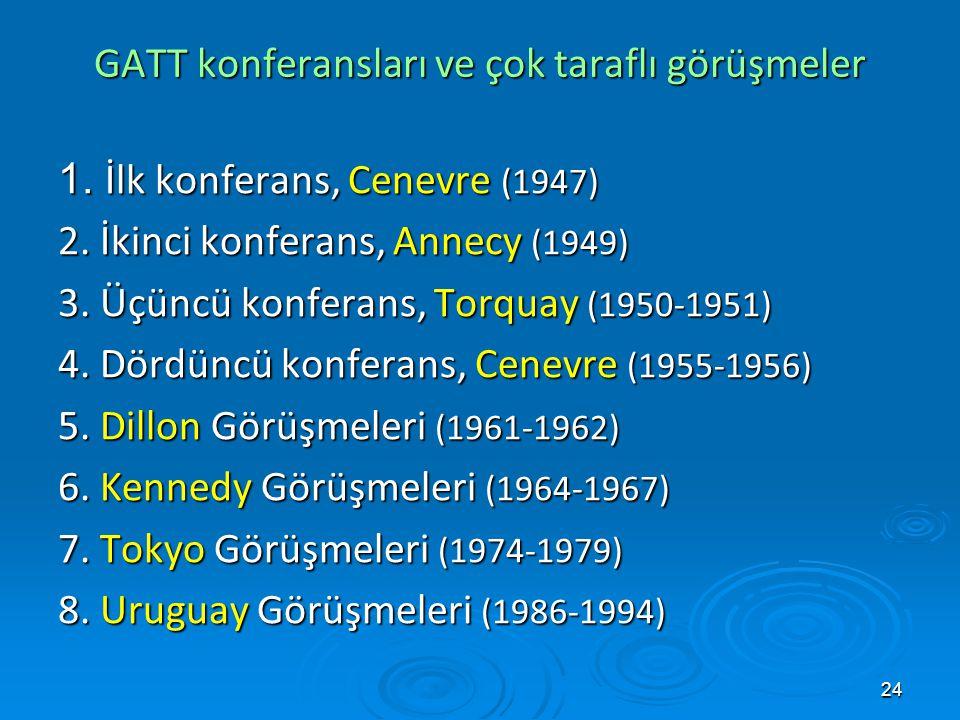 24 GATT konferansları ve çok taraflı görüşmeler 1. İlk konferans, Cenevre (1947) 2. İkinci konferans, Annecy (1949) 3. Üçüncü konferans, Torquay (1950