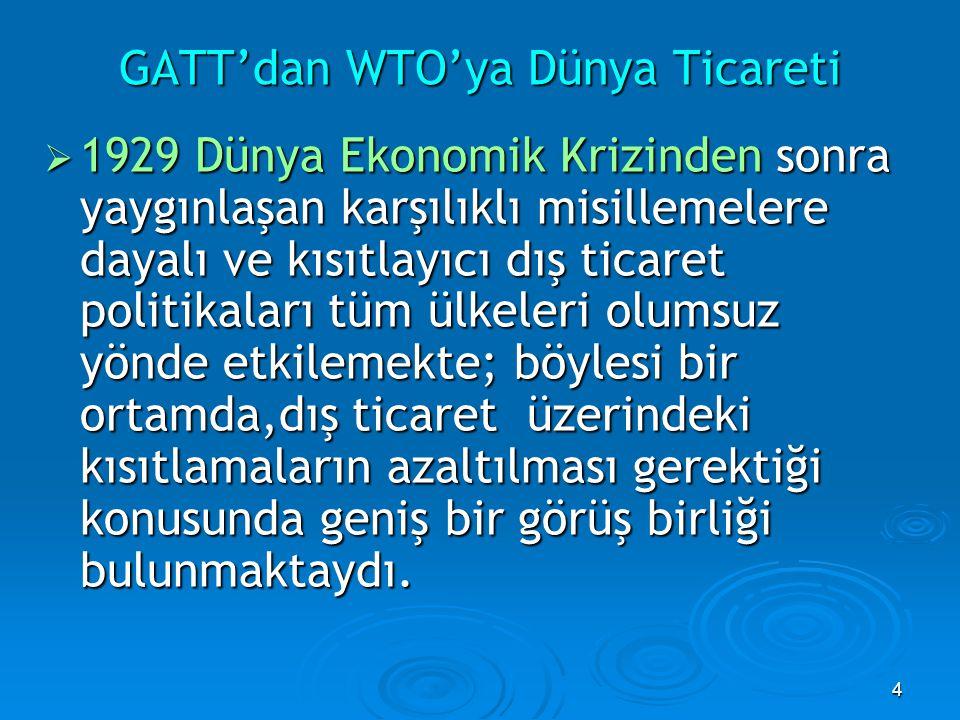 4  1929 Dünya Ekonomik Krizinden sonra yaygınlaşan karşılıklı misillemelere dayalı ve kısıtlayıcı dış ticaret politikaları tüm ülkeleri olumsuz yönde