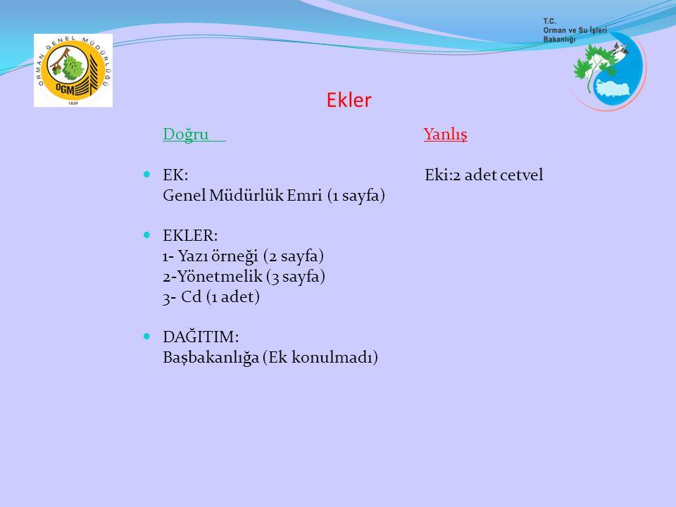 Ekler Doğru Yanlış EK: Eki:2 adet cetvel Genel Müdürlük Emri (1 sayfa) EKLER: 1- Yazı örneği (2 sayfa) 2-Yönetmelik (3 sayfa) 3- Cd (1 adet) DAĞITIM: