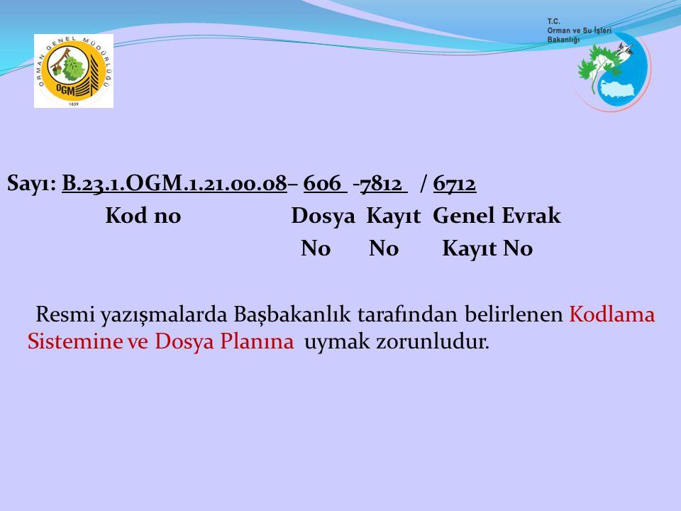 Sayı: B.23.1.OGM.1.21.00.08– 606 -7812 / 6712 Kod no Dosya Kayıt Genel Evrak No No Kayıt No Resmi yazışmalarda Başbakanlık tarafından belirlenen Kodla