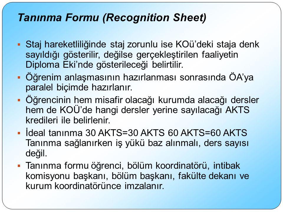 Tanınma Formu (Recognition Sheet)  Staj hareketliliğinde staj zorunlu ise KOü'deki staja denk sayıldığı gösterilir, değilse gerçekleştirilen faaliyetin Diploma Eki'nde gösterileceği belirtilir.