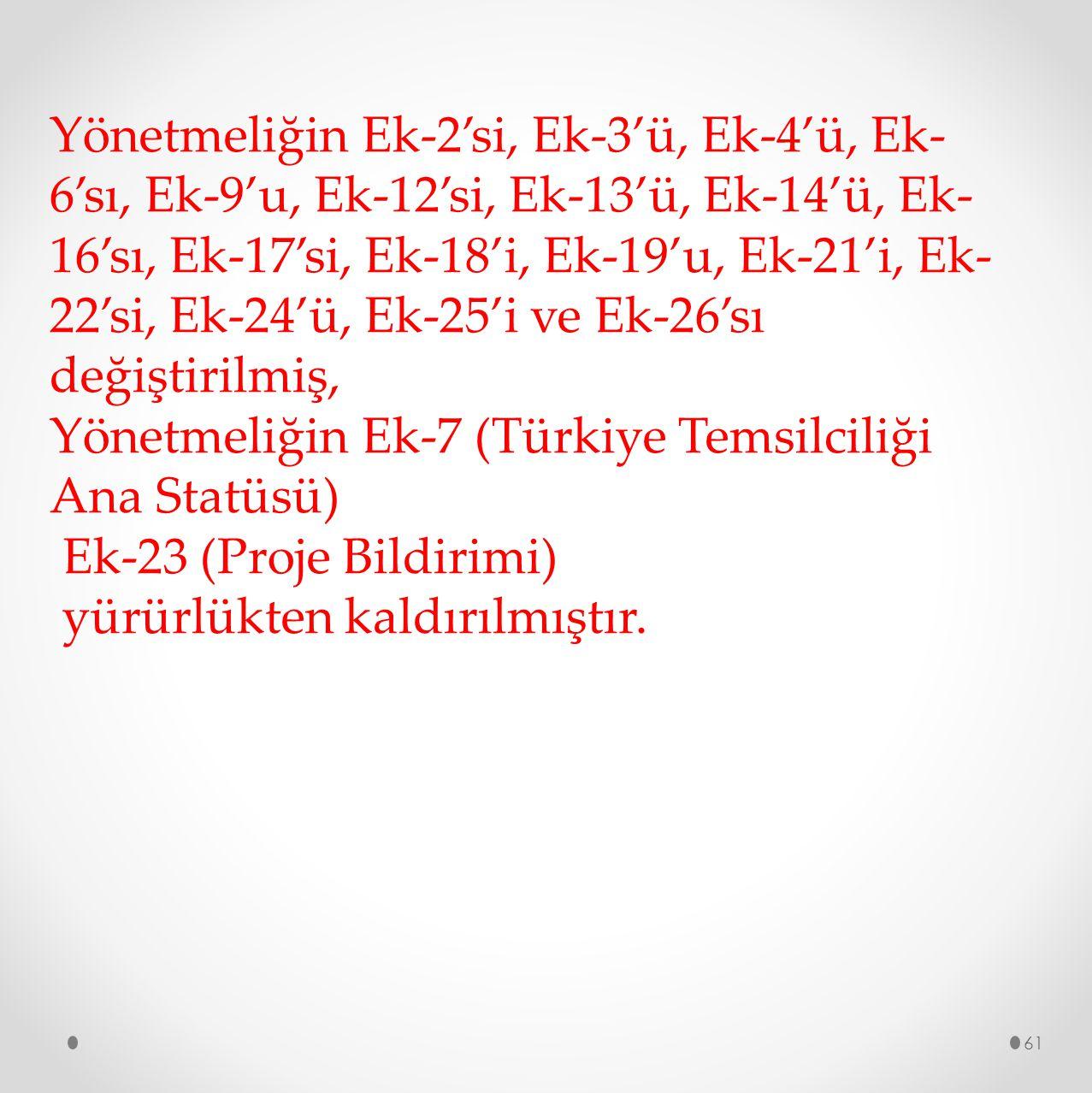 61 Yönetmeliğin Ek-2'si, Ek-3'ü, Ek-4'ü, Ek- 6'sı, Ek-9'u, Ek-12'si, Ek-13'ü, Ek-14'ü, Ek- 16'sı, Ek-17'si, Ek-18'i, Ek-19'u, Ek-21'i, Ek- 22'si, Ek-2