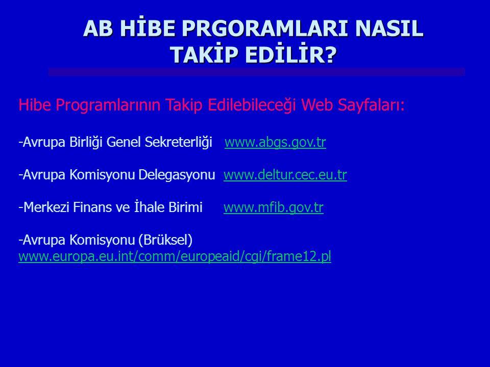 AB HİBE PRGORAMLARI NASIL TAKİP EDİLİR? Hibe Programlarının Takip Edilebileceği Web Sayfaları: -Avrupa Birliği Genel Sekreterliği www.abgs.gov.trwww.a