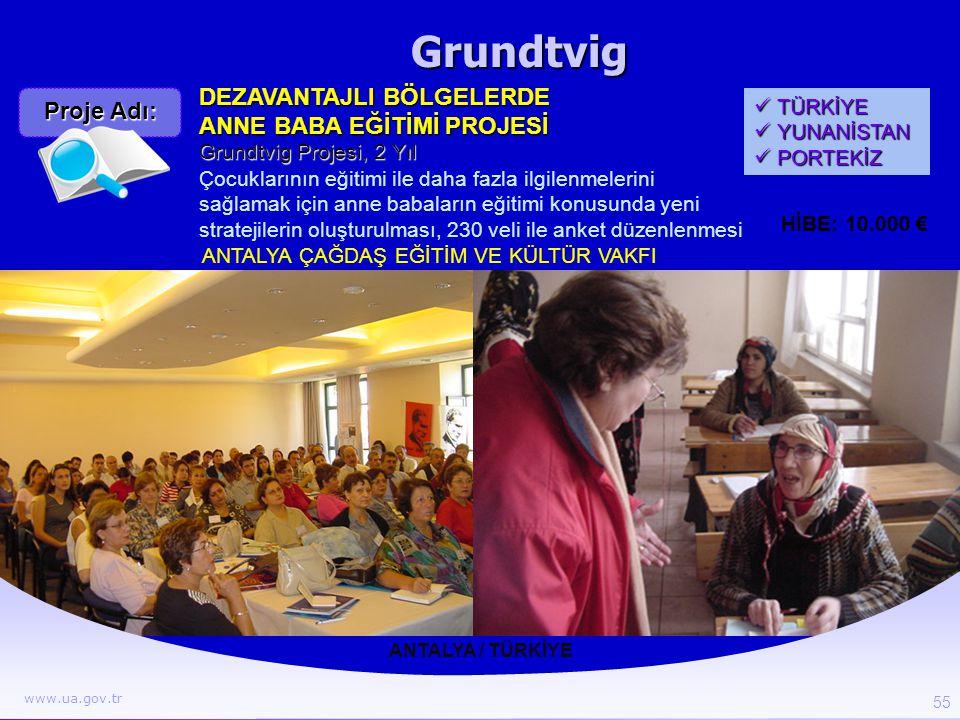 Grundtvig ANTALYA / TÜRKİYE DEZAVANTAJLI BÖLGELERDE ANNE BABA EĞİTİMİ PROJESİ Çocuklarının eğitimi ile daha fazla ilgilenmelerini sağlamak için anne b