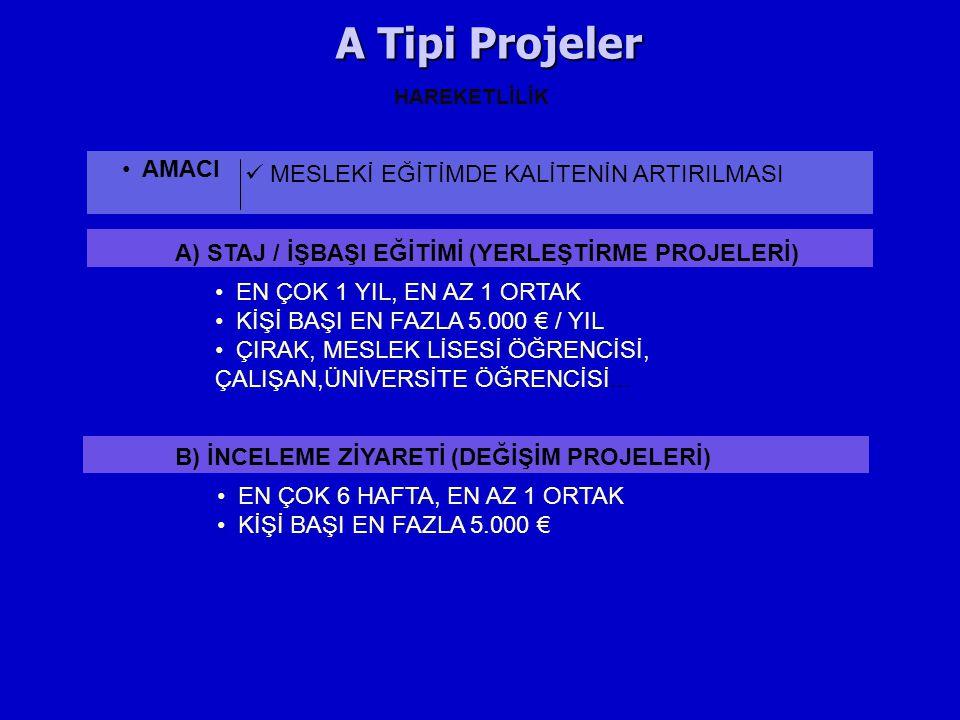 A Tipi Projeler AMACI MESLEKİ EĞİTİMDE KALİTENİN ARTIRILMASI HAREKETLİLİK A) STAJ / İŞBAŞI EĞİTİMİ (YERLEŞTİRME PROJELERİ) EN ÇOK 1 YIL, EN AZ 1 ORTAK