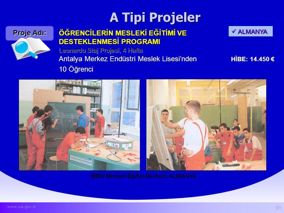 A Tipi Projeler BBW Mesleki Eğitim Merkezi, ALMANYA ÖĞRENCİLERİN MESLEKİ EĞİTİMİ VE DESTEKLENMESİ PROGRAMI Antalya Merkez Endüstri Meslek Lisesi'nden