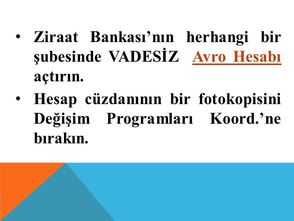 Ziraat Bankası'nın herhangi bir şubesinde VADESİZ Avro Hesabı açtırın.