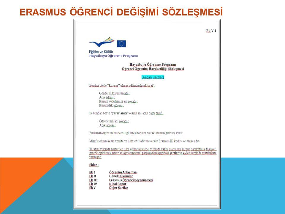 ERASMUS ÖĞRENCİ DEĞİŞİMİ SÖZLEŞMESİ