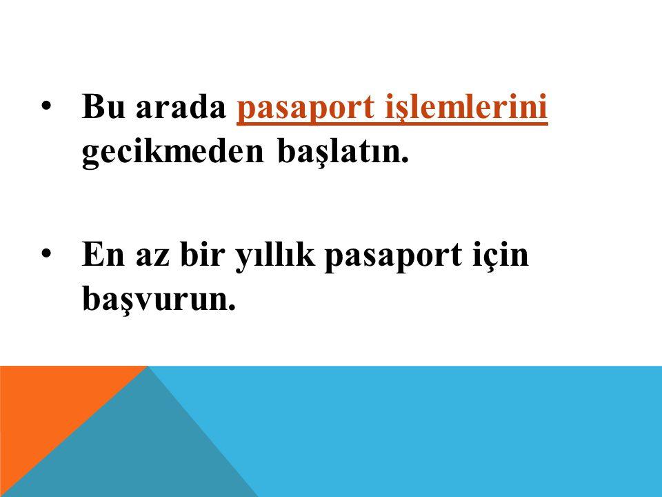 Bu arada pasaport işlemlerini gecikmeden başlatın. En az bir yıllık pasaport için başvurun.