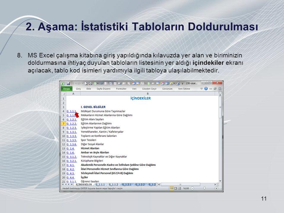 2. Aşama: İstatistiki Tabloların Doldurulması 11 8.MS Excel çalışma kitabına giriş yapıldığında kılavuzda yer alan ve biriminizin doldurmasına ihtiyaç