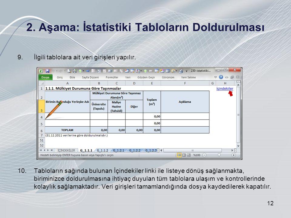 2. Aşama: İstatistiki Tabloların Doldurulması 9.İlgili tablolara ait veri girişleri yapılır.
