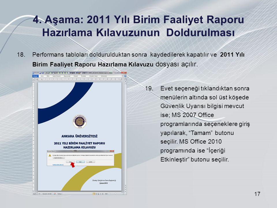 4. Aşama: 2011 Yılı Birim Faaliyet Raporu Hazırlama Kılavuzunun Doldurulması 18.Performans tabloları doldurulduktan sonra kaydedilerek kapatılır ve 20