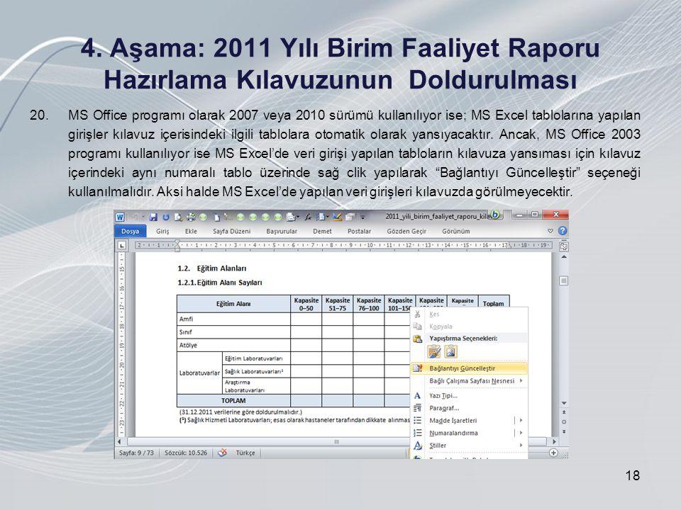 4. Aşama: 2011 Yılı Birim Faaliyet Raporu Hazırlama Kılavuzunun Doldurulması 18 20.MS Office programı olarak 2007 veya 2010 sürümü kullanılıyor ise; M