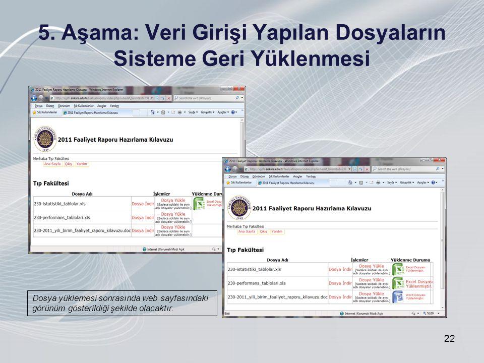 5. Aşama: Veri Girişi Yapılan Dosyaların Sisteme Geri Yüklenmesi 22 Dosya yüklemesi sonrasında web sayfasındaki görünüm gösterildiği şekilde olacaktır