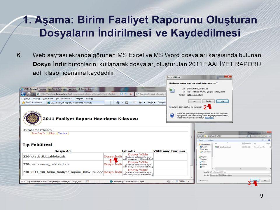 1. Aşama: Birim Faaliyet Raporunu Oluşturan Dosyaların İndirilmesi ve Kaydedilmesi 6.Web sayfası ekranda görünen MS Excel ve MS Word dosyaları karşısı