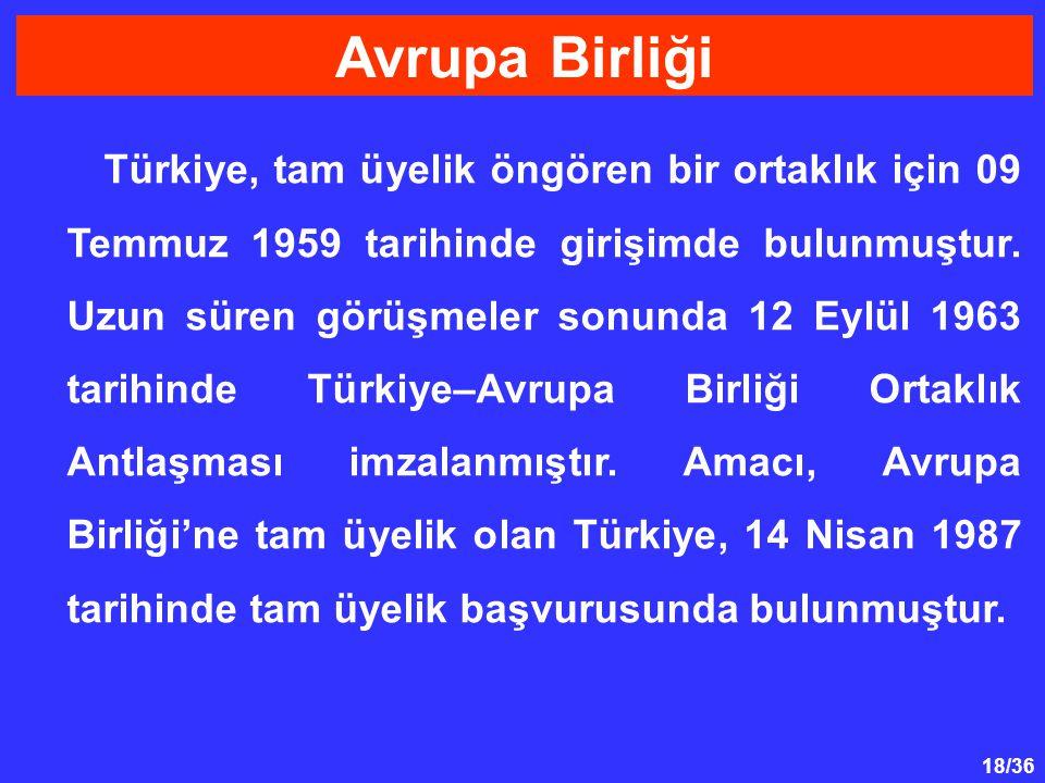 18/36 Türkiye, tam üyelik öngören bir ortaklık için 09 Temmuz 1959 tarihinde girişimde bulunmuştur. Uzun süren görüşmeler sonunda 12 Eylül 1963 tarihi