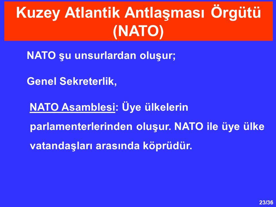 23/36 NATO şu unsurlardan oluşur; Genel Sekreterlik, NATO Asamblesi: Üye ülkelerin parlamenterlerinden oluşur. NATO ile üye ülke vatandaşları arasında