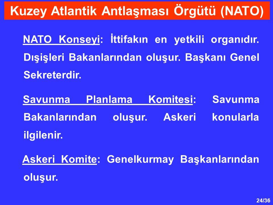 24/36 NATO Konseyi: İttifakın en yetkili organıdır. Dışişleri Bakanlarından oluşur. Başkanı Genel Sekreterdir. Savunma Planlama Komitesi: Savunma Baka