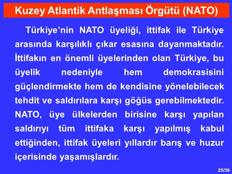 25/36 Türkiye'nin NATO üyeliği, ittifak ile Türkiye arasında karşılıklı çıkar esasına dayanmaktadır. İttifakın en önemli üyelerinden olan Türkiye, bu