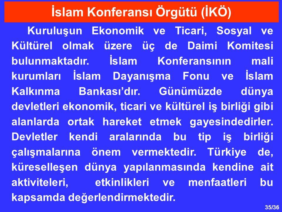 35/36 Kuruluşun Ekonomik ve Ticari, Sosyal ve Kültürel olmak üzere üç de Daimi Komitesi bulunmaktadır. İslam Konferansının mali kurumları İslam Dayanı