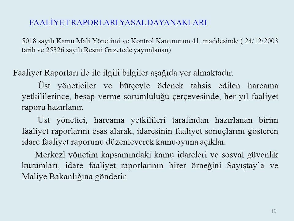 FAALİYET RAPORLARI YASAL DAYANAKLARI 5018 sayılı Kamu Mali Yönetimi ve Kontrol Kanununun 41. maddesinde ( 24/12/2003 tarih ve 25326 sayılı Resmi Gazet