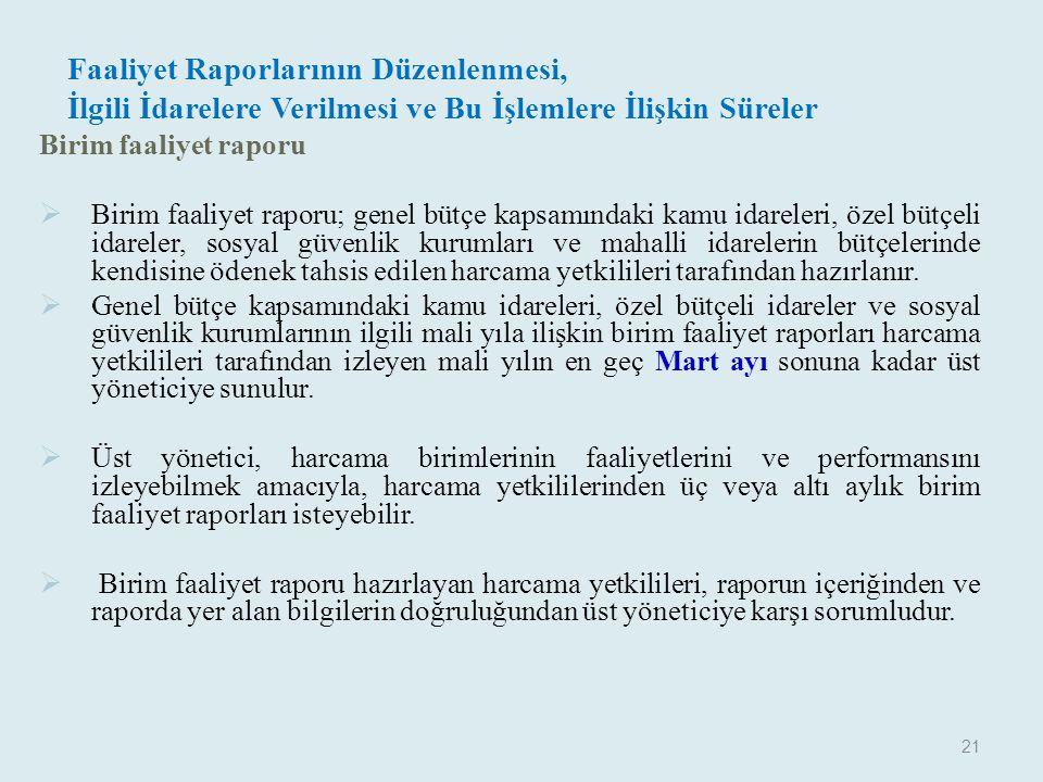 Faaliyet Raporlarının Düzenlenmesi, İlgili İdarelere Verilmesi ve Bu İşlemlere İlişkin Süreler Birim faaliyet raporu  Birim faaliyet raporu; genel bü