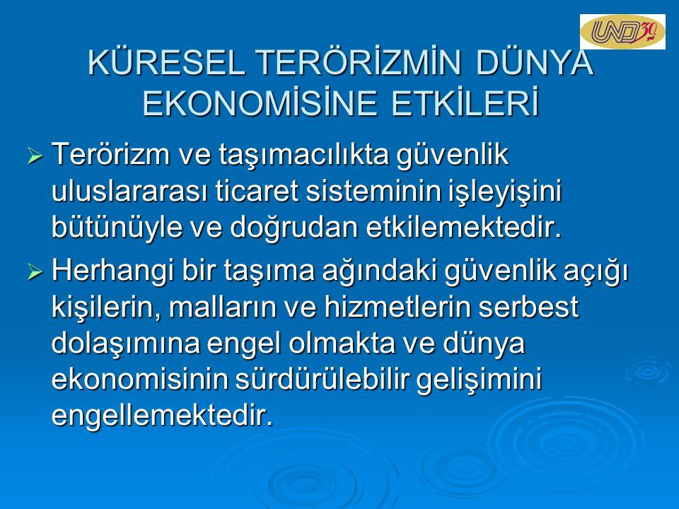 KÜRESEL TERÖRİZMİN DÜNYA EKONOMİSİNE ETKİLERİ  Terörizm ve taşımacılıkta güvenlik uluslararası ticaret sisteminin işleyişini bütünüyle ve doğrudan et