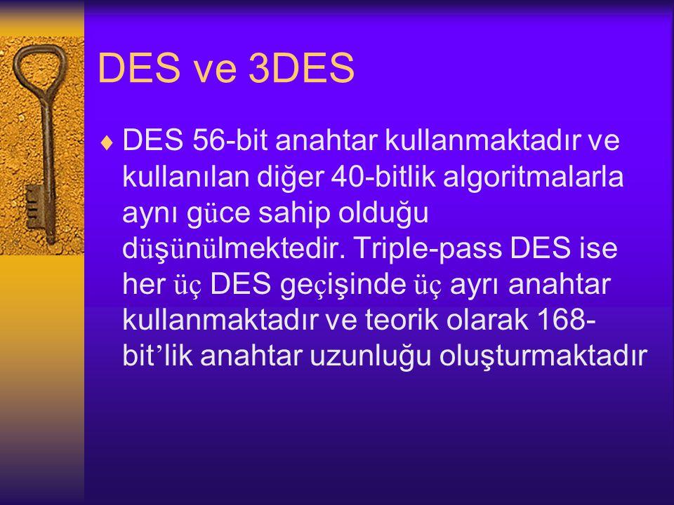 DES ve 3DES  DES 56-bit anahtar kullanmaktadır ve kullanılan diğer 40-bitlik algoritmalarla aynı g ü ce sahip olduğu d ü ş ü n ü lmektedir.