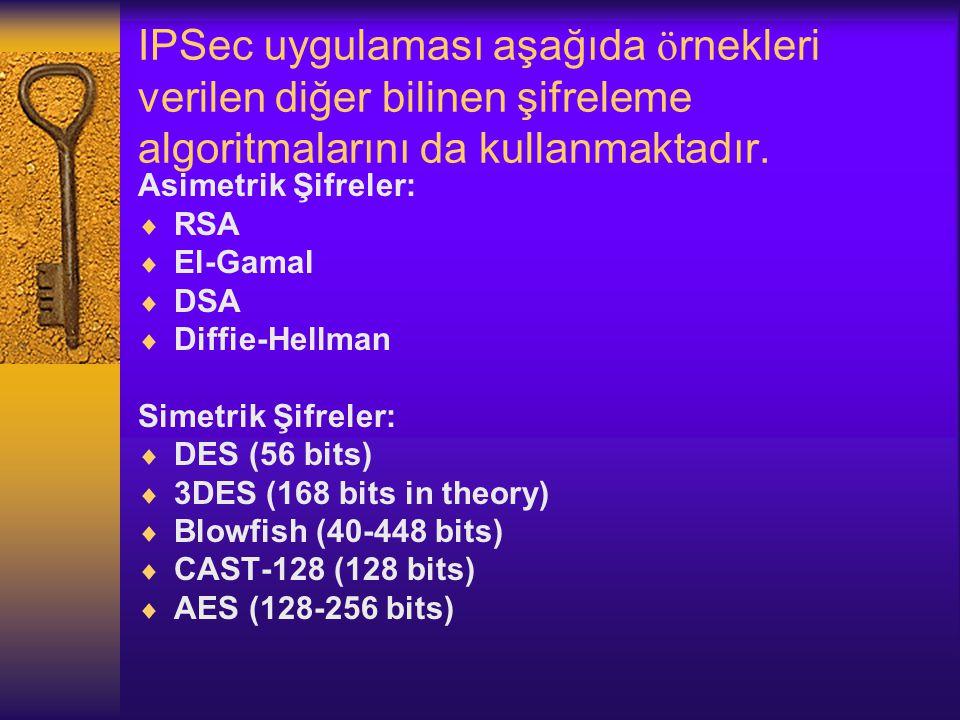 IPSec uygulaması aşağıda ö rnekleri verilen diğer bilinen şifreleme algoritmalarını da kullanmaktadır.