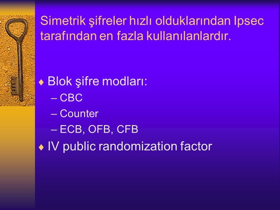 Simetrik şifreler hızlı olduklarından Ipsec tarafından en fazla kullanılanlardır.
