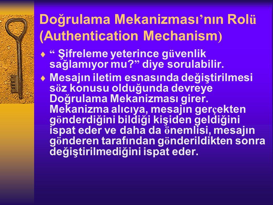 Doğrulama Mekanizması ' nın Rol ü (Authentication Mechanism )  Şifreleme yeterince g ü venlik sağlamıyor mu.