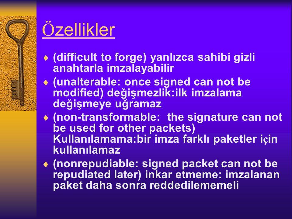 Ö zellikler  (difficult to forge) yanlızca sahibi gizli anahtarla imzalayabilir  (unalterable: once signed can not be modified) değişmezlik:ilk imzalama değişmeye uğramaz  (non-transformable: the signature can not be used for other packets) Kullanılamama:bir imza farklı paketler i ç in kullanılamaz  (nonrepudiable: signed packet can not be repudiated later) inkar etmeme: imzalanan paket daha sonra reddedilememeli