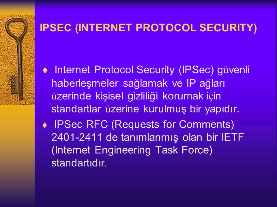 IPSEC (INTERNET PROTOCOL SECURITY)  Internet Protocol Security (IPSec) g ü venli haberleşmeler sağlamak ve IP ağları ü zerinde kişisel gizliliği korumak i ç in standartlar ü zerine kurulmuş bir yapıdır.