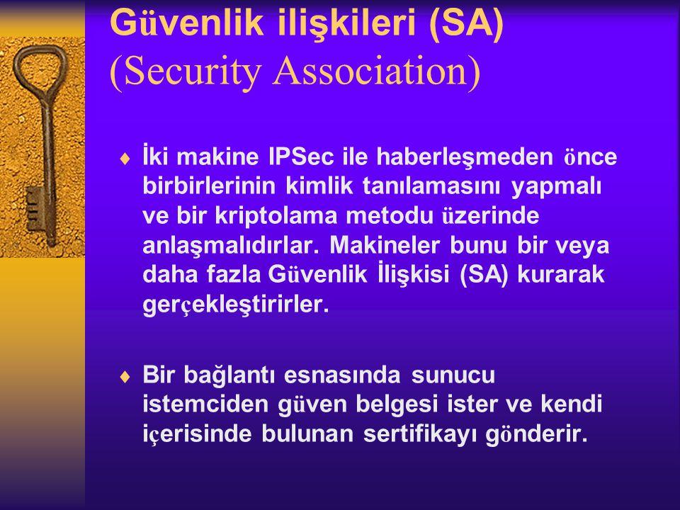 G ü venlik ilişkileri (SA) (Security Association)  İki makine IPSec ile haberleşmeden ö nce birbirlerinin kimlik tanılamasını yapmalı ve bir kriptolama metodu ü zerinde anlaşmalıdırlar.