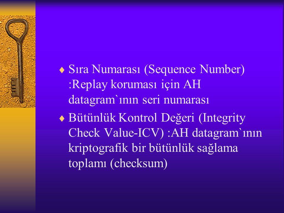  Sıra Numarası (Sequence Number) :Replay koruması için AH datagram`ının seri numarası  Bütünlük Kontrol Değeri (Integrity Check Value-ICV) :AH datagram`ının kriptografik bir bütünlük sağlama toplamı (checksum)