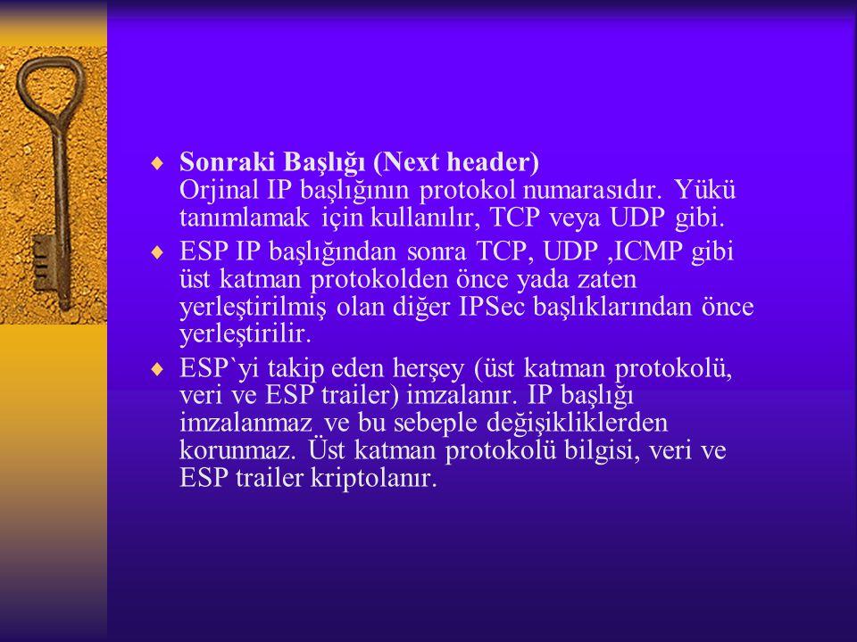  Sonraki Başlığı (Next header) Orjinal IP başlığının protokol numarasıdır.