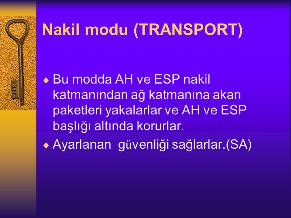 Nakil modu (TRANSPORT)  Bu modda AH ve ESP nakil katmanından ağ katmanına akan paketleri yakalarlar ve AH ve ESP başlığı altında korurlar.