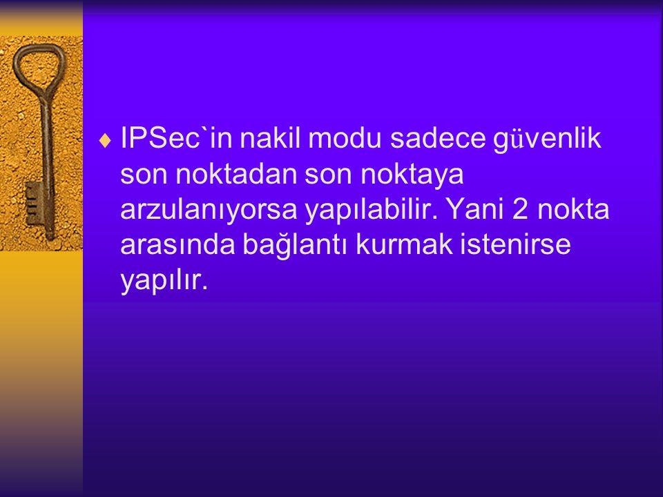  IPSec`in nakil modu sadece g ü venlik son noktadan son noktaya arzulanıyorsa yapılabilir.