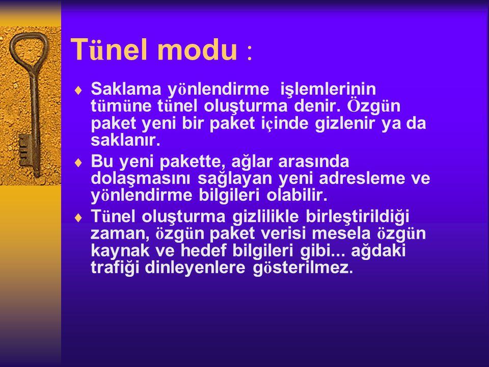 T ü nel modu :  Saklama y ö nlendirme işlemlerinin t ü m ü ne t ü nel oluşturma denir.
