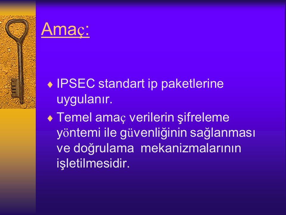 Ama ç :  IPSEC standart ip paketlerine uygulanır.