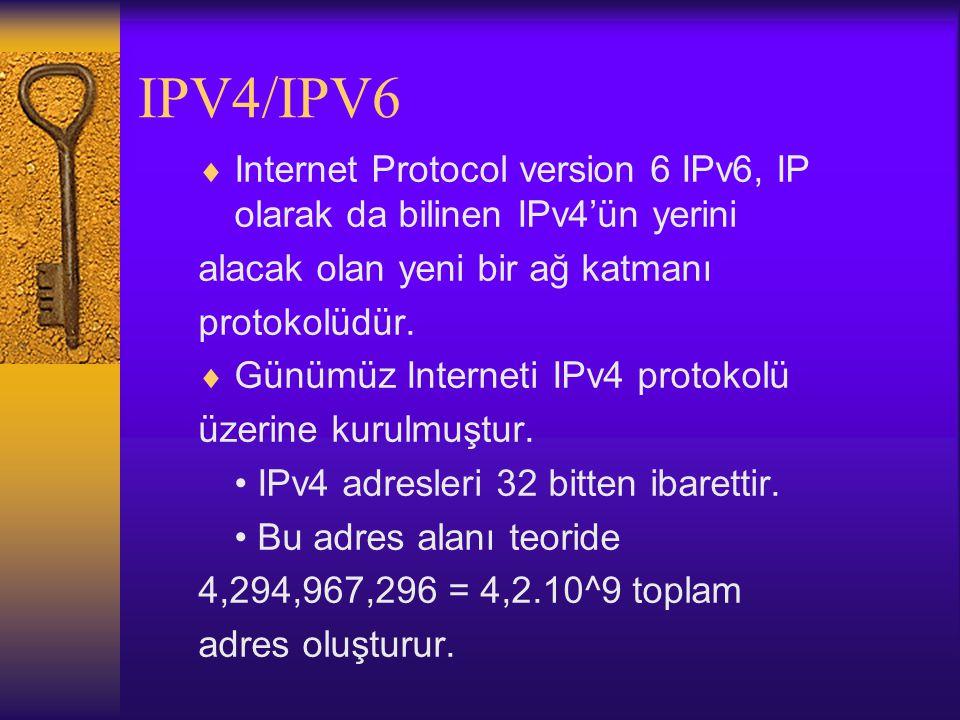 IPV4/IPV6  Internet Protocol version 6 IPv6, IP olarak da bilinen IPv4'ün yerini alacak olan yeni bir ağ katmanı protokolüdür.