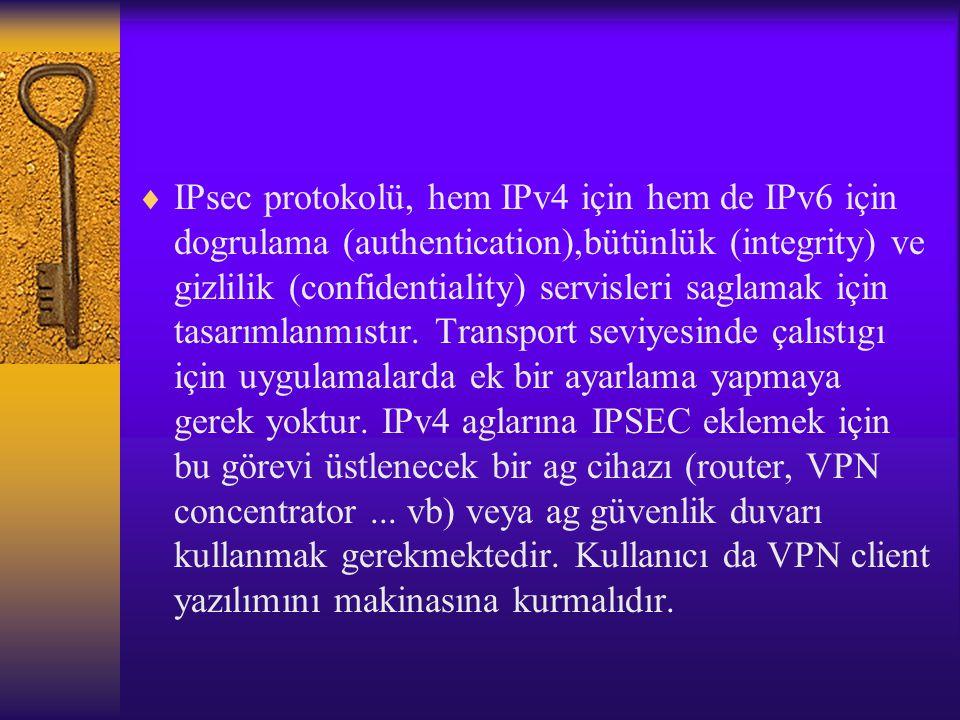  IPsec protokolü, hem IPv4 için hem de IPv6 için dogrulama (authentication),bütünlük (integrity) ve gizlilik (confidentiality) servisleri saglamak için tasarımlanmıstır.