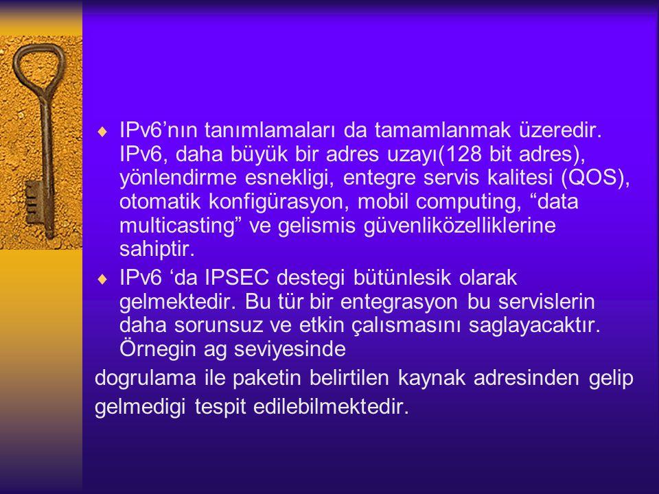  IPv6'nın tanımlamaları da tamamlanmak üzeredir.