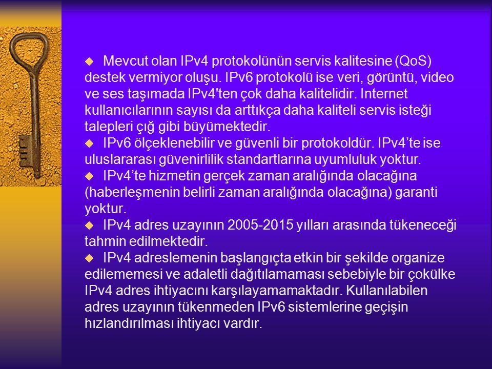  Mevcut olan IPv4 protokolünün servis kalitesine (QoS) destek vermiyor oluşu.