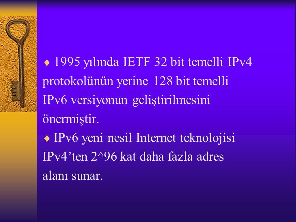  1995 yılında IETF 32 bit temelli IPv4 protokolünün yerine 128 bit temelli IPv6 versiyonun geliştirilmesini önermiştir.