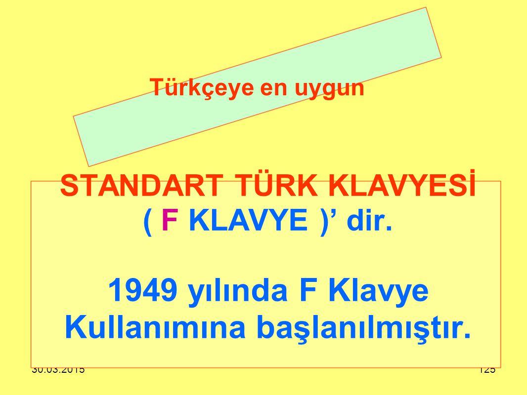 30.03.2015125 STANDART TÜRK KLAVYESİ ( F KLAVYE )' dir. 1949 yılında F Klavye Kullanımına başlanılmıştır. Türkçeye en uygun
