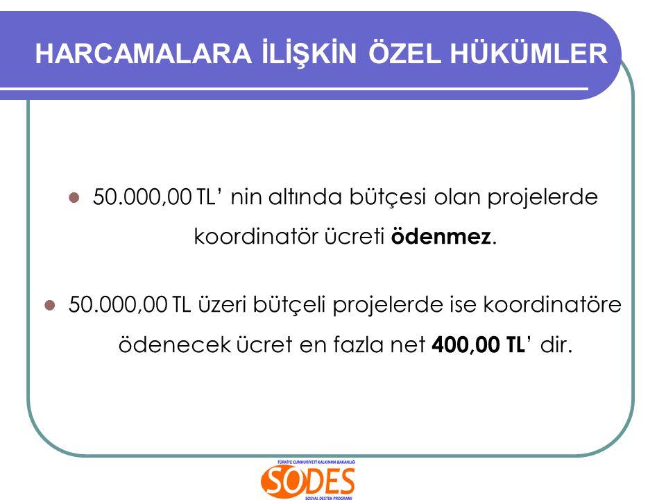 50.000,00 TL' nin altında bütçesi olan projelerde koordinatör ücreti ödenmez. 50.000,00 TL üzeri bütçeli projelerde ise koordinatöre ödenecek ücret en