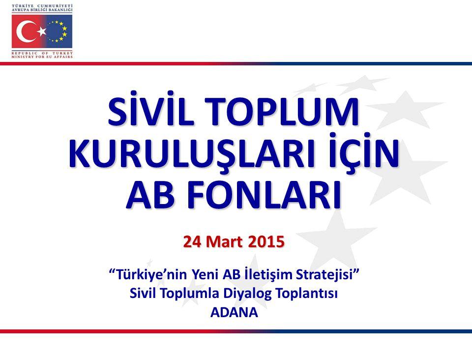 """""""Türkiye'nin Yeni AB İletişim Stratejisi"""" Sivil Toplumla Diyalog Toplantısı ADANA SİVİL TOPLUM KURULUŞLARI İÇİN AB FONLARI 24 Mart 2015"""