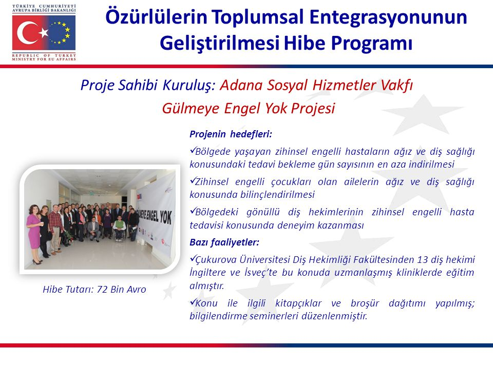 Özürlülerin Toplumsal Entegrasyonunun Geliştirilmesi Hibe Programı Proje Sahibi Kuruluş: Adana Sosyal Hizmetler Vakfı Gülmeye Engel Yok Projesi Projen